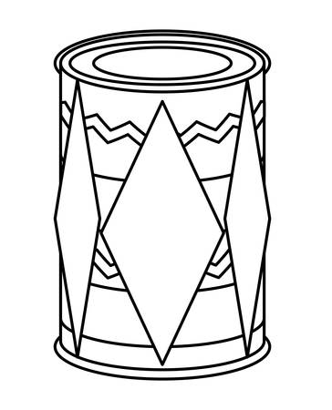 dholak drum with decorative indian style icon over white background, vector illustration