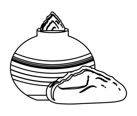 mud pot with gulal icon over white background, vector illustration