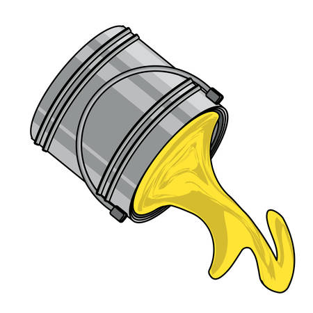 bucket with pouring paint over white background, vector illustration