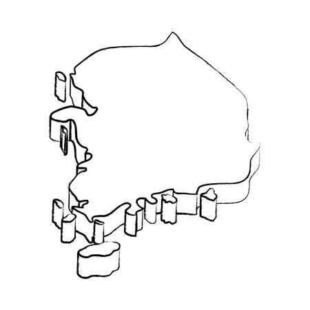 south korea map over white background, vector illustration Illustration