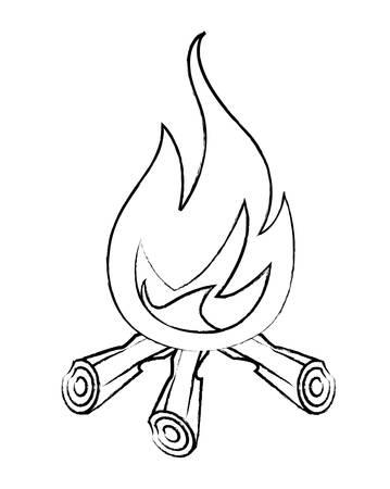 bonfire icon over white background, vector illustration