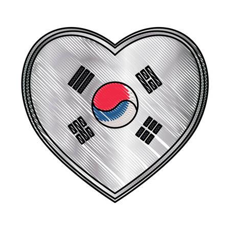 south korea flag in heart shape over white background, vector illustration