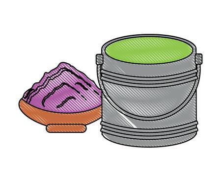 verfemmer en keramische pot met verf op witte achtergrond, vectorillustratie