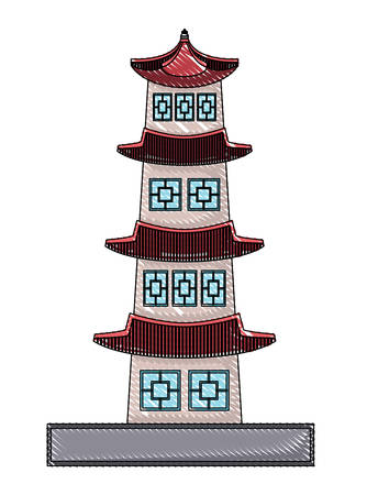 South korea design with seoul tower icon over white background, vector illustration