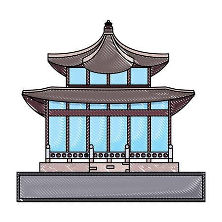 South korea design with palace landmark icon over white background, vector illustration Illustration