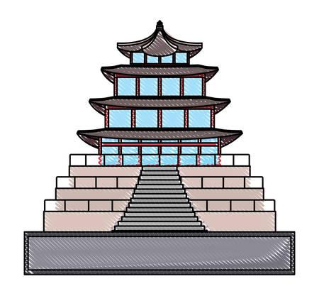 Gyeongbokgung Palace icon over white background, vector illustration Illustration