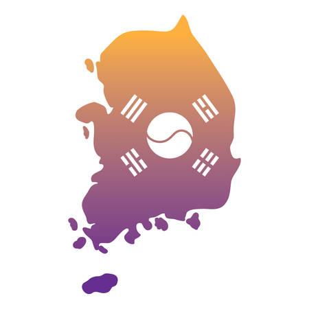 south korea map with flag design over white background, vector illustration