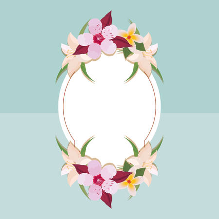 Decorative frame with beautiful flowers around over blue background, vector illustration