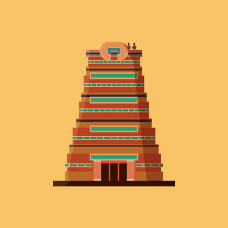 India design with Sri Meenakshi Temple icon over yellow background, colorful design. vector illustration