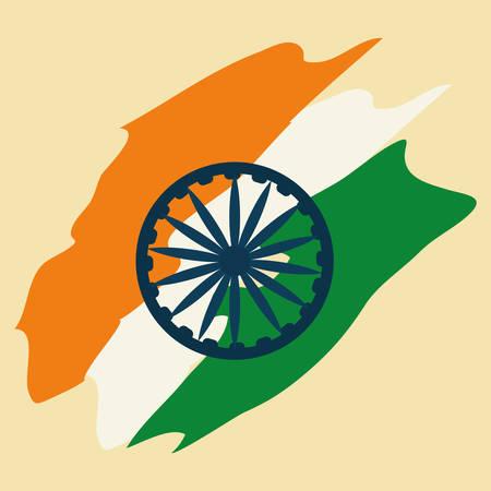 India flag, brush stroke with ashoka wheel over yellow background, colorful design. vector illustration