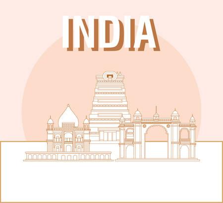 India design with iconics landmarks over orange background, vector illustration Illustration