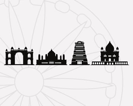 Black silhouettes of india landmarks over white background, vector illustration