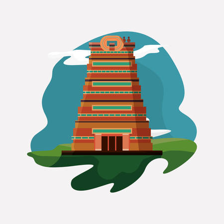 India design with Sri Meenakshi Temple icon over white background, colorful design. vector illustration