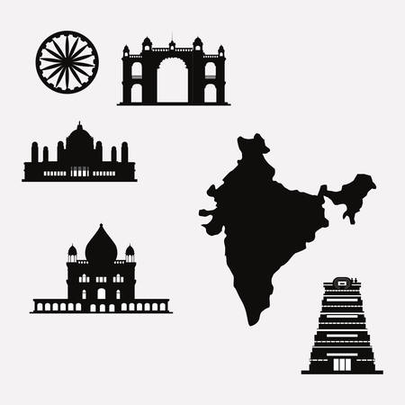 india related icons over white background, vector illustration Vetores