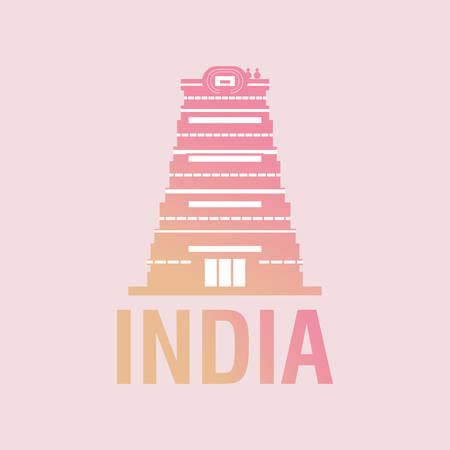 India design with Sri Meenakshi Temple icon over pink background, colorful design. vector illustration Vetores