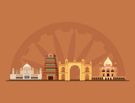 Indian monuments over brown background, colorful design. vector illustration