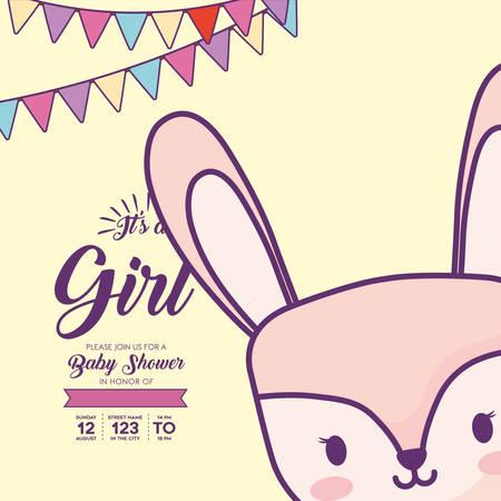 Es una invitación de baby shower de niña con banderines decorativos y un lindo icono de conejo sobre fondo amarillo, diseño colorido. ilustración vectorial