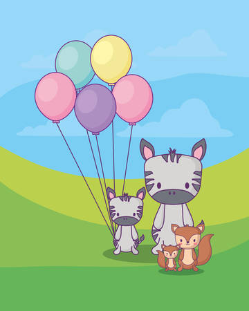 cute zebras with balloons and squirrels over landscape backgorund, colorful design. vector illustration 일러스트