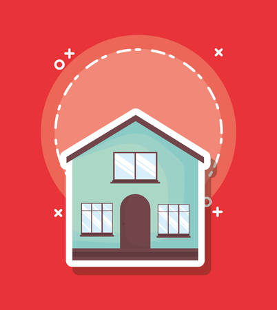 traditional house icon over red background, colorful design. vector illustration