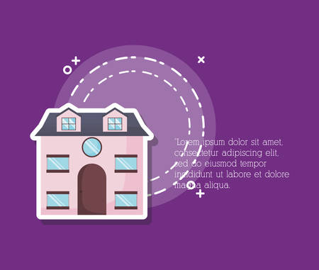 Infographic presentation with modern house icon over purple background, colorful design. vector illustration