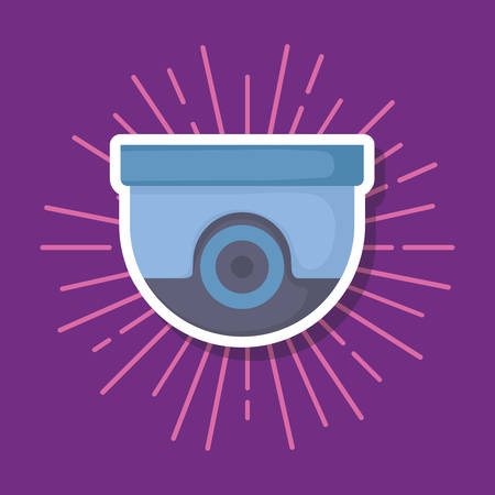 security camera icon over purple background, vector illustration