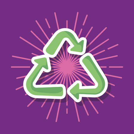 recycle symbol icon over purple background, colorful design. vector illustration Illustration