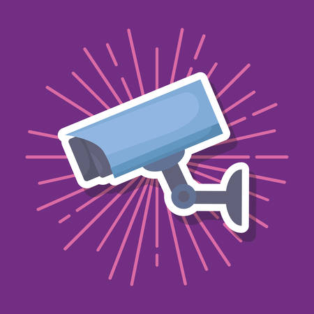 security camera icon over purple background, colorful design. vector illustration