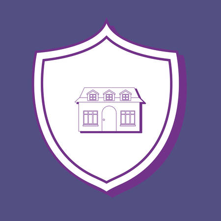 shield with modern house icon over blue background, colorful line design. vector illustration  イラスト・ベクター素材
