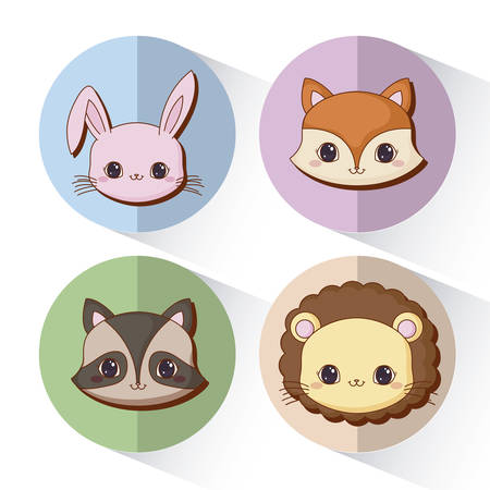 icon set of kawaii animals over colorful circles and white background, vector illustration