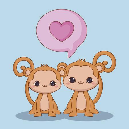monkeys in love over blue background, colorful design. vector illustration