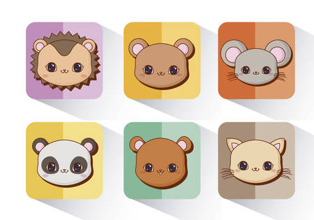 icon set of animals over colorful squares and white  background, vector illustration