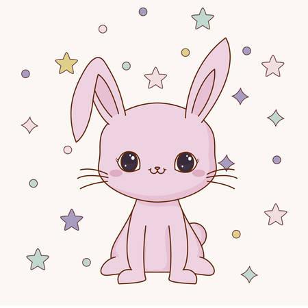 Lindo icono de conejo sobre fondo verde, diseño colorido. ilustración vectorial Ilustración de vector