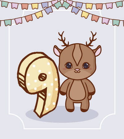 Happy birthday design with cute deer and number nine over gray background, colorful design. vector illustration