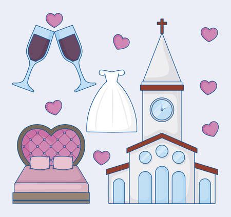 Icon set of wedding concept over blue background, colorful design. vector illustration