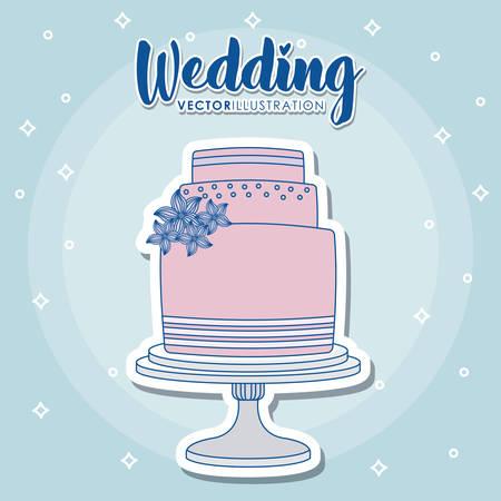 wedding design with wedding cake icon over blue background, colorful design. vector illustration