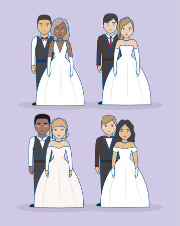 icon set of Just married couples standing over purple background, colorful design. vector illustration 向量圖像
