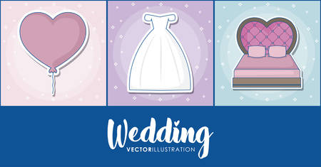 Icon set of wedding concept over colorful squares, vector illustration Иллюстрация
