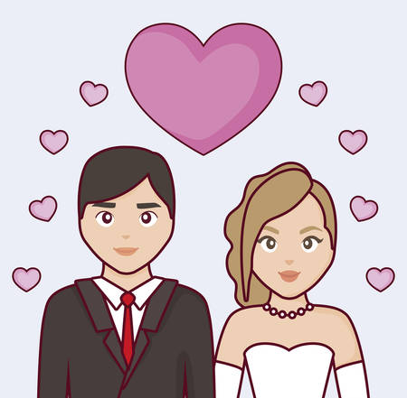 Cartoon Married couple with hearts around over blue background, colorful design. vector illustration