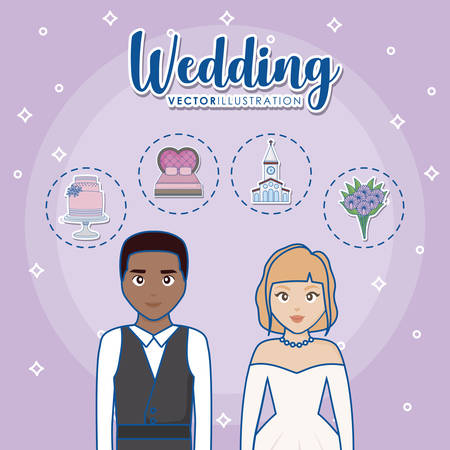 cartoon married couple with wedding related icons over purple background, colorful design. vector illustration