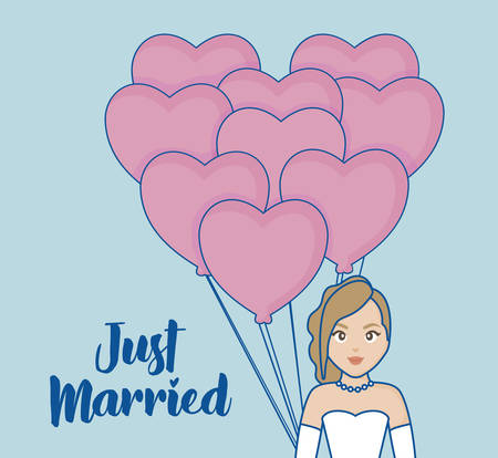 Just married design with cartoon bride with heart balloons over blue background, colorful design. vector illustration