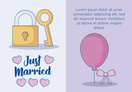 Just married infographic with padlock and balloon icon over colorful background. vector illustration