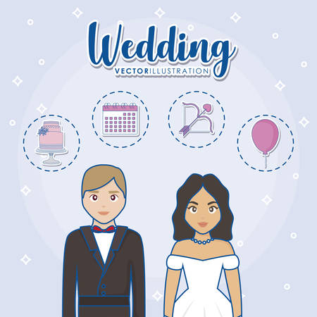 cartoon married couple with wedding related icons over blue background, colorful design. vector illustration Ilustração