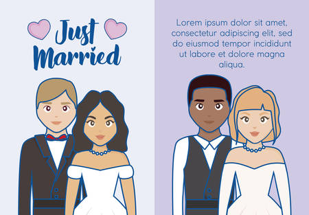 Just married infographic with married couples icon over colorful background. vector illustration