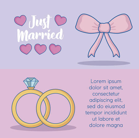 Just married infographic with decorative bow and engagement rings  icon over colorful background. vector illustration