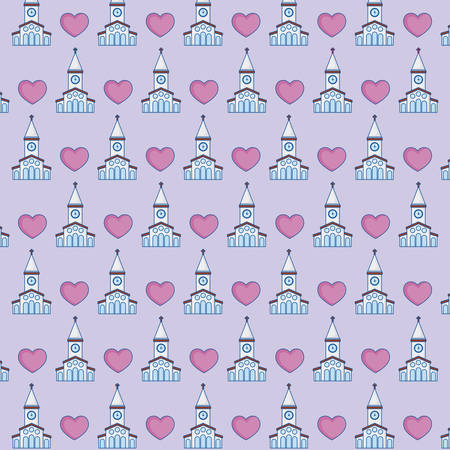 church and hearts background, colorful design. vector illustration