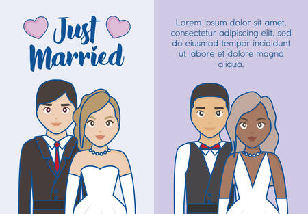 Just married infographic with cartoon married couple icon over purple background, colorful design. vector illustration