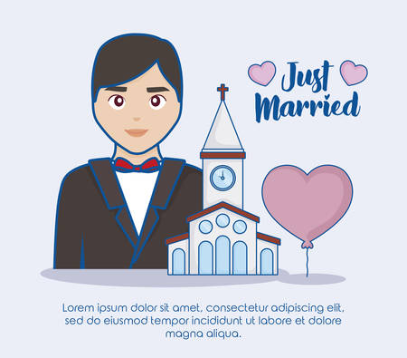 Just married infographic with cartoon groom and church icon over blue background, colorful design. vector illustration Illustration