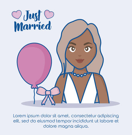 Just married infographic with cartoon bride and balloon icon over blue background, colorful design. vector illustration