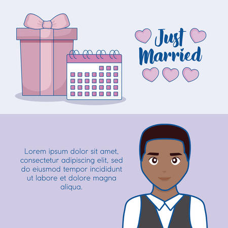 Just married infographic with cartoon groom and gift box icon over blue background, colorful design. vector illustration