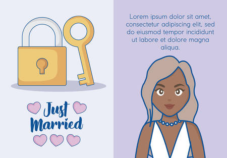 Just married infographic with padlock and cartoon bride icon over blue background, colorful design. vector illustration